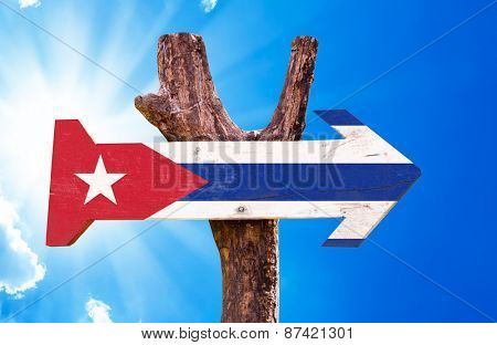 Cuba Flag wooden sign with sky background