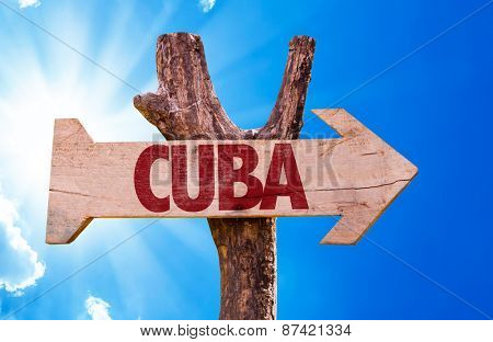 Cuba wooden sign with sky background