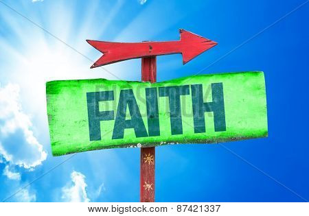 Faith sign with sky background