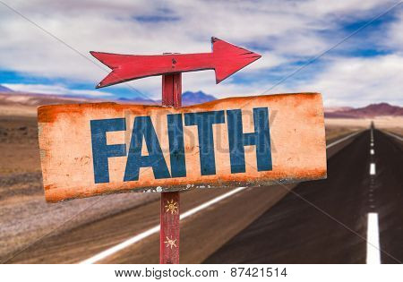 Faith sign with road background
