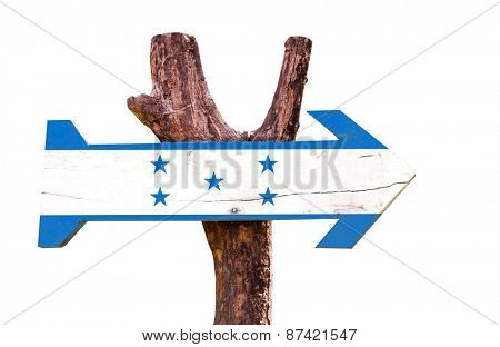 Honduras Flag wooden sign isolated on white background