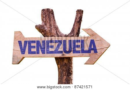 Venezuela wooden sign isolated on white background