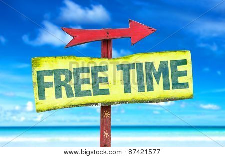 Free Time sign with beach background