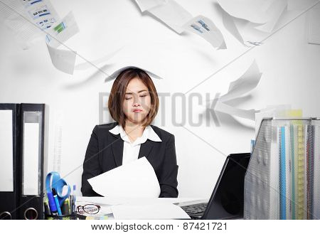 The businesswoman asian serious and busy with trouble her working