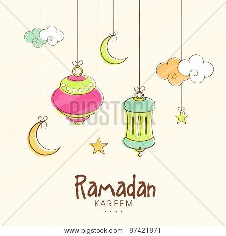 Islamic holy month of prayers Ramadan Kareem celebrations with hanging colourful lanterns, moon, clouds and stars on beige background.