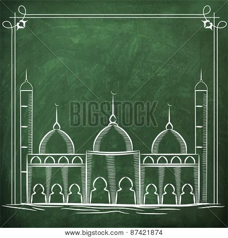 Illustration of a mosque on green chalk board, concept for Islamic holy month of prayers, Ramadan Kareem celebrations.