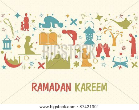 Illustration of islamic elements and religious muslim people in various activities to follow their traditional rituals for holy month of muslim community, Ramadan Kareem celebration.