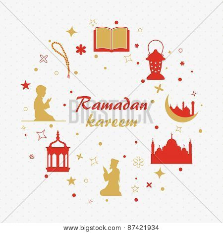 Holy month of muslim community, Ramadan Kareem celebration with illustration of islamic elements and people.