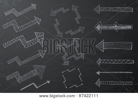 Collection of hand drawn arrows on black chalkboard Vector illustration