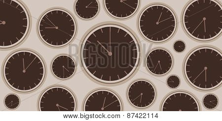 Clock background Vector illustration with group of brown clocks
