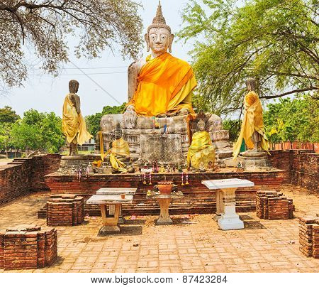 Buddha statue in Wat Wora Pho.Ayutthaya historical park.