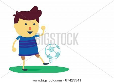 Boy juggling football