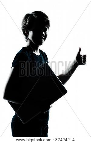 one  young teenager silhouette boy girl holding carrying laptop computer thumb up portrait in studio cut out isolated on white background