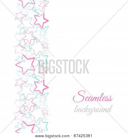 Grunge Color Stars. Vector Border Seamless Pattern.