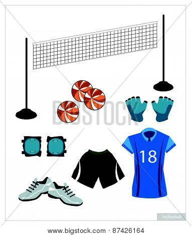 Set Of Volleyball Equipment On White Background