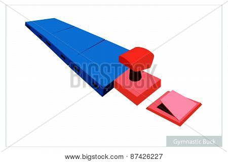 Artistic Gymnastic Buck Equipments On White Background