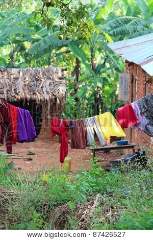 Laundry on wire in rural Africa