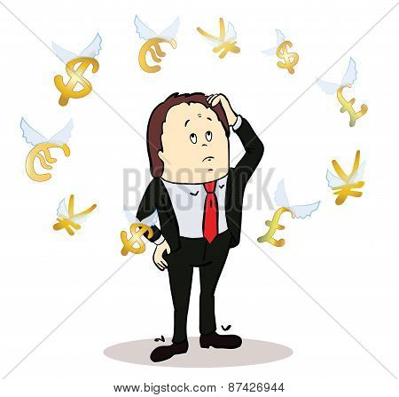 business man standing, watching for flying currency icons. White background. Banking, exchange rate