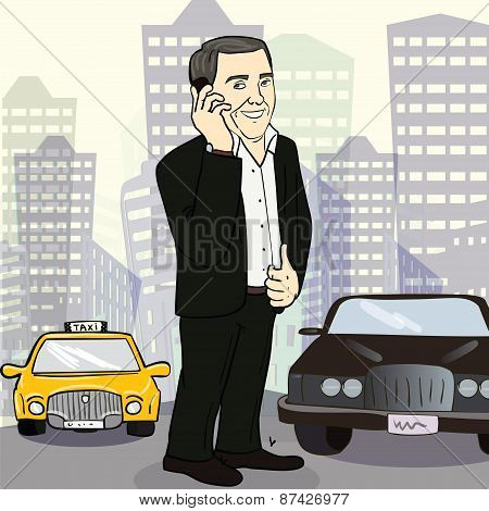 Isolated smiling  businessman on a city street
