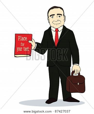 Vector illustration of Cartoon standing businessman.  Boss holding book and suitcase.