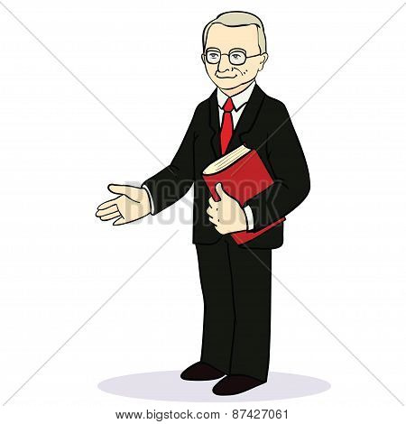 Man gives a hand for a handshake. Businessman gives a hand for the welcome.  illustration.