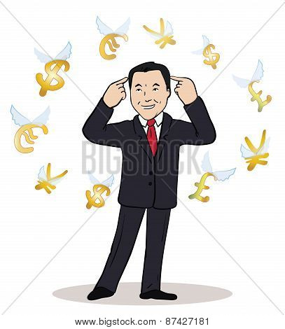 business man standing, watching for flying currency icons.Banking, exchange rate concept, economy. F