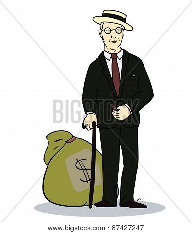 Rich man with sack of money.  Illustration of trader or businessman. Vector