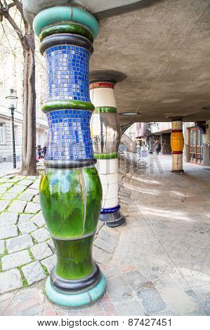 The details of Hundertwasser house in Vienna, Austria