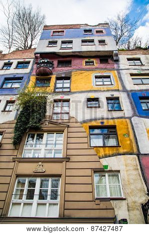The view of Hundertwasser house in Vienna, Austria