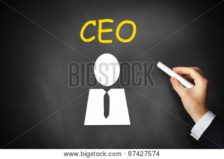 Hand Writing Ceo On Black Chalkboard