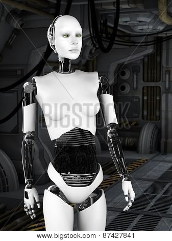 Robot Woman In Sci Fi Corridor.