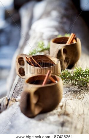 Mulled wine served from kuksa ,specially made wooden cup