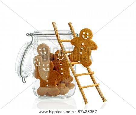Gingerbread climbing ladder into cookie jar on a white background