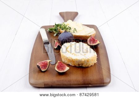 Pineapple Soft Cheese And Bread On Wooden Board