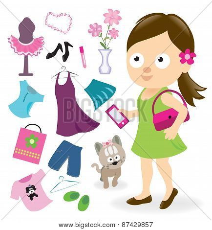 Teen girl with clothes and accessories