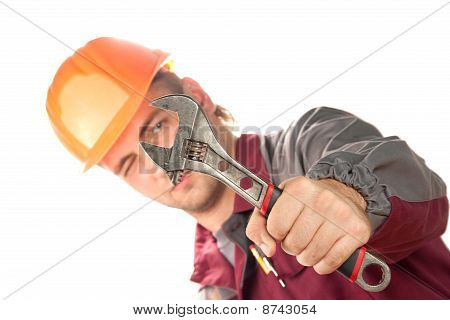 Working Man With Adjustable Wrench