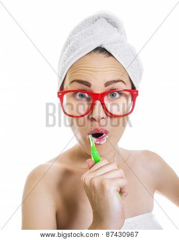 Woman Brushing Teeth. Funny Girl With Brush And Toothpaste Isolated On White