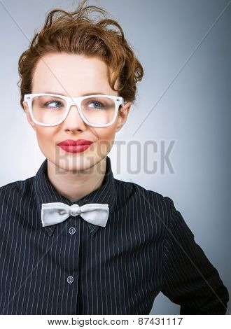 Young Business Woman Thinking, Serious Stylish Girl