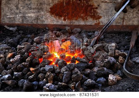 Embers And Flame Of A Smith's Forge
