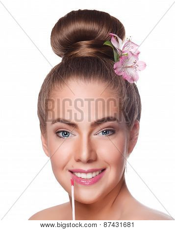Beauty Young Woman Face With Lipgloss
