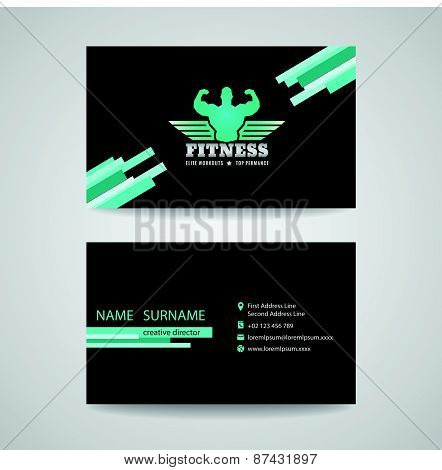 business fitness gym card  (wings and muscle blue mint -black tone)