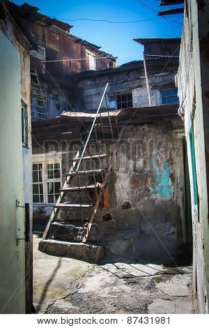 Shanty With Ladder In Urban District For Poor  Yerevan, Armenia