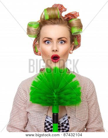 Funny Surprised Housewife / Girl With Broom, Isolated On White. Close Up Domestic Woman