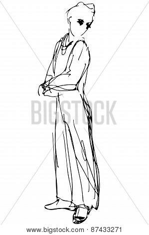 Vector Sketch Of A Man Looking Back Over His Shoulder