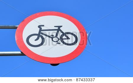 Red round no cycling sign