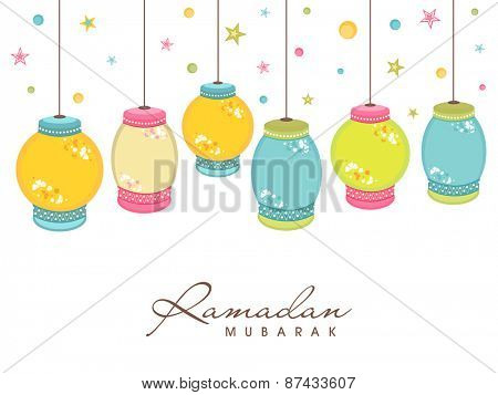 Colorful hanging arabic lamps or lanterns for holy month of muslim community, Ramadan Kareem celebration.