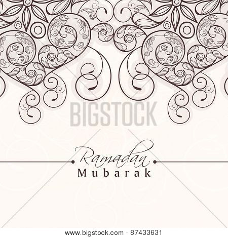 Beautiful floral decorated greeting card for holy month of muslim community, Ramadan Kareem celebration.