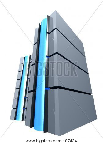 Two 3D Server Towes With Blue Button