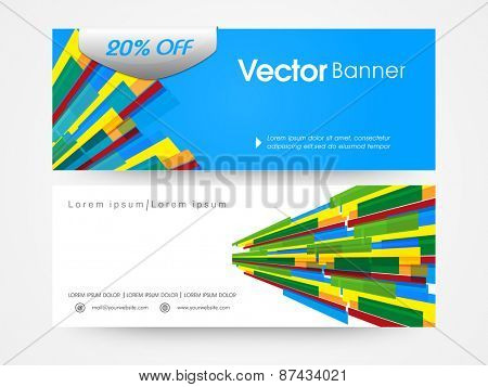 Business website header and banner design with colourful stripes.