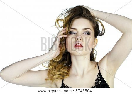Beauty portrait of young attractive woman, isolated on gray background
